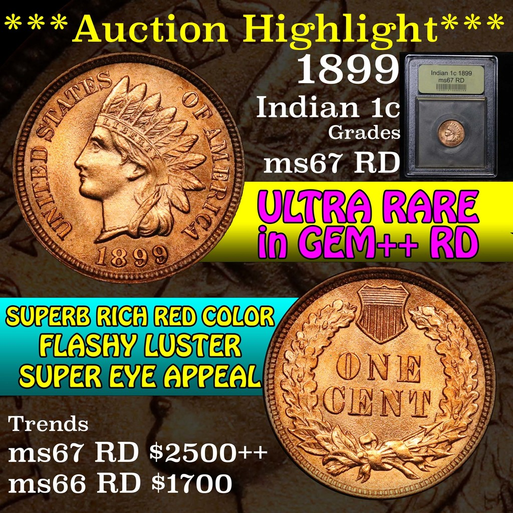 ***Auction Highlight*** 1899 Indian Cent 1c Graded GEM++ Unc RD by USCG (fc)