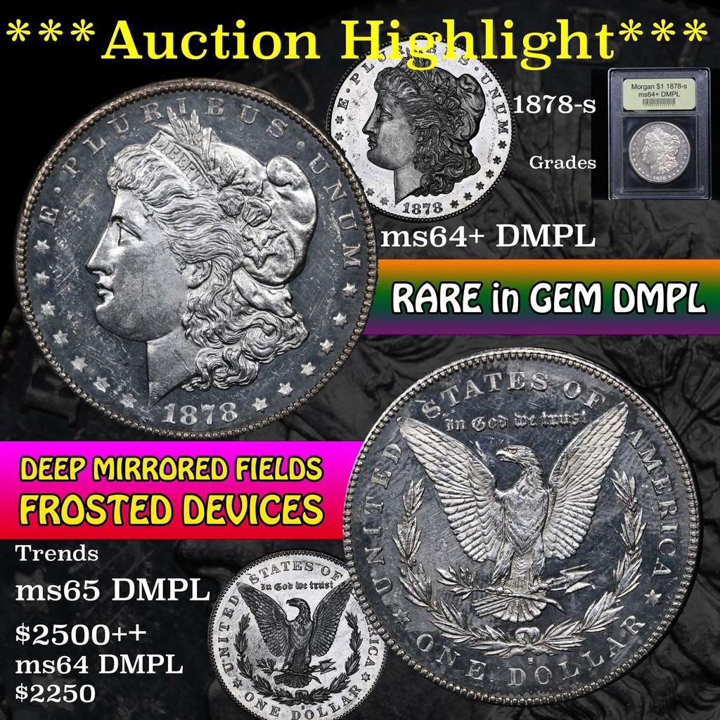***Auction Highlight*** 1878-s Morgan Dollar $1 Graded Choice Unc+ DMPL by USCG (fc)