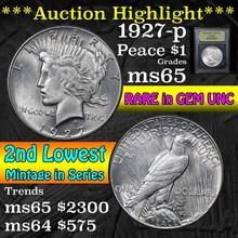 1927-p Peace Dollar $1 Graded GEM Unc by USCG (fc)