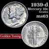 1939-p Mercury Dime 10c Grades Select Unc