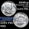 1948-p Franklin Half Dollar 50c Grades Choice Unc FBL