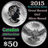 2015 Great Horned Owl 'Bird of Pray Series' 1oz Silver Round