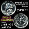 Proof 1957 Washington Quarter 25c Grades GEM++ Proof