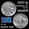 1937-p Buffalo Nickel 5c Grades Choice Unc