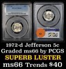 PCGS 1972-d Jefferson Nickel 5c Graded ms66 by PCGS