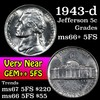 1943-d Jefferson Nickel 5c Grades GEM++ 5fs