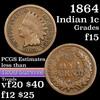 1864 Bronze Indian Cent 1c Grades f+