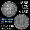 1865 Three Cent Copper Nickel 3cn Grades vf++
