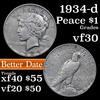 1934-d Peace Dollar $1 Grades vf++