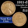 1911-d Lincoln Cent 1c Grades f, fine