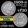 1909-o Barber Dime 10c Grades vf, very fine
