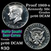 Proof 1969-s Kennedy Half Dollar 50c Grades GEM+ Proof Deep Cameo