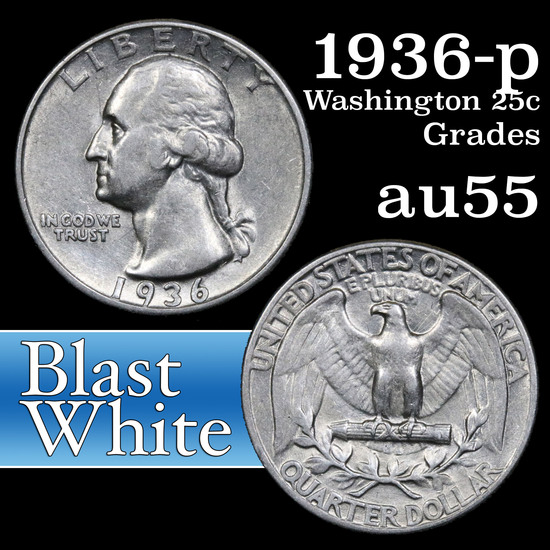 1936-p Washington Quarter 25c Grades Choice AU