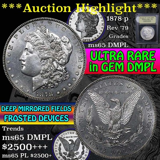 ***Auction Highlight*** 1878-p Rev '79 Morgan Dollar $1 Graded GEM Unc DMPL by USCG (fc)