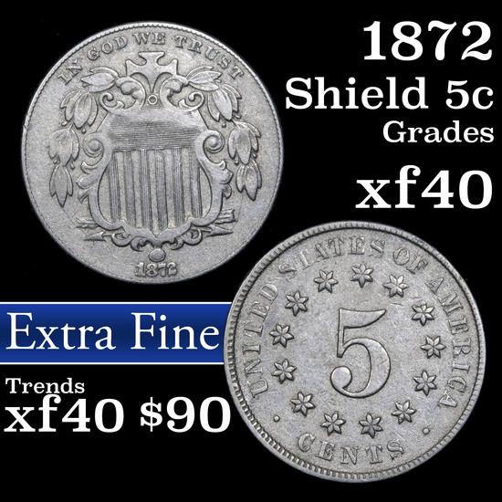 1872 Shield Nickel 5c Grades xf