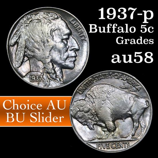 1937-p Buffalo Nickel 5c Grades Choice AU/BU Slider