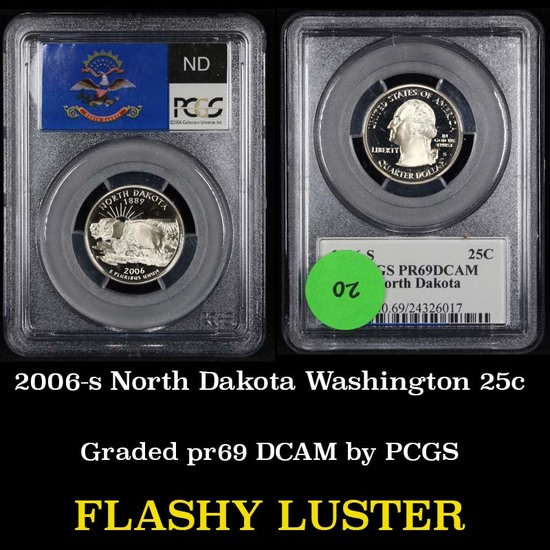 PCGS 2006-s North Dakota Washington Quarter 25c Graded pr69 DCAM by PCGS
