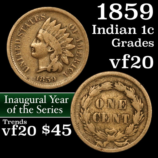 1859 Indian Cent 1c Grades vf, very fine