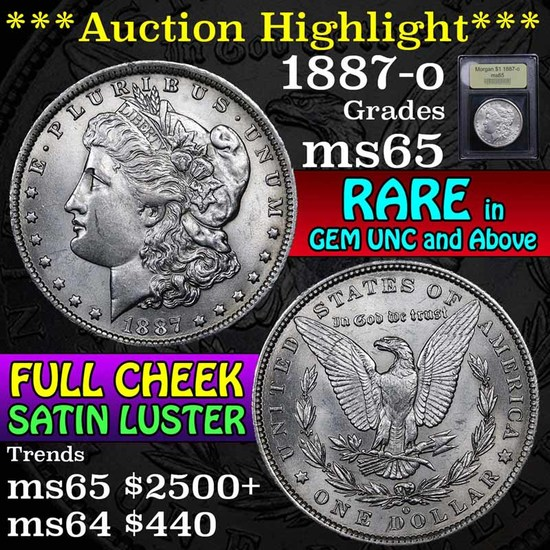 ***Auction Highlight*** 1887-o Morgan Dollar $1 Graded GEM Unc by USCG (fc)