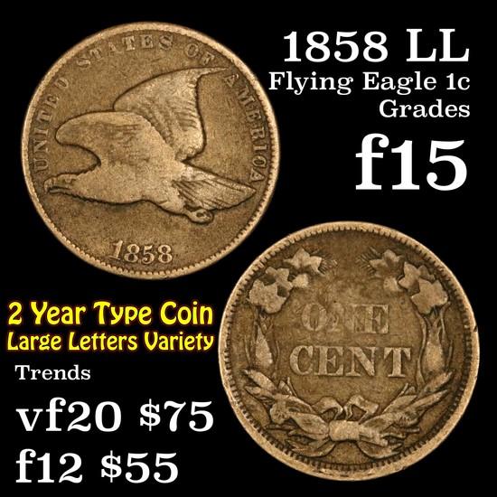 1858 LL Flying Eagle Cent 1c Grades f+