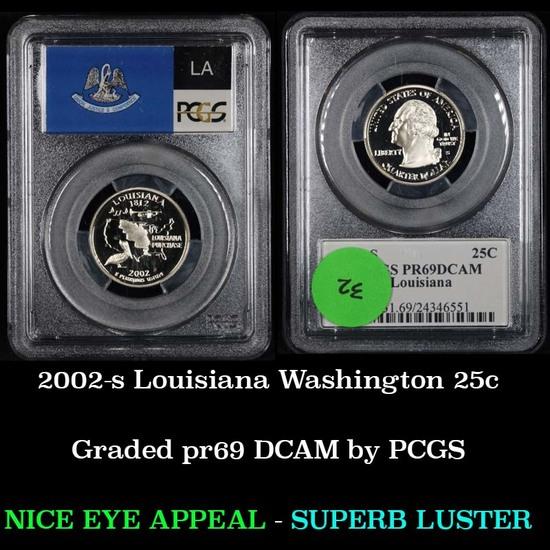PCGS 2002-s Louisiana Washington Quarter 25c Graded pr69 DCAM by PCGS
