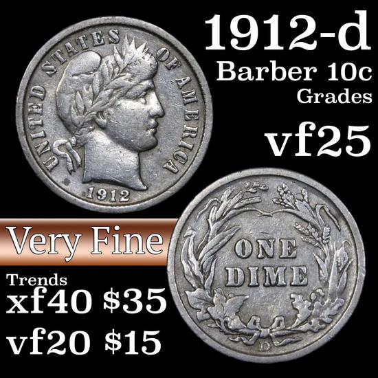 1912-d Barber Dime 10c Grades vf+