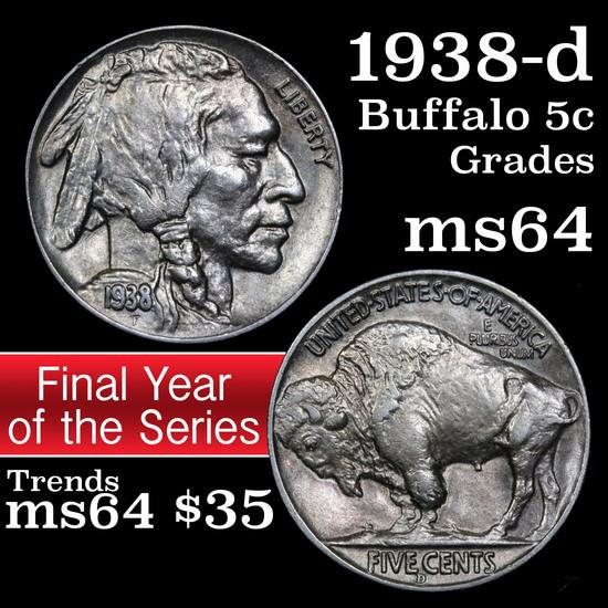 1938-d Buffalo Nickel 5c Grades Choice Unc