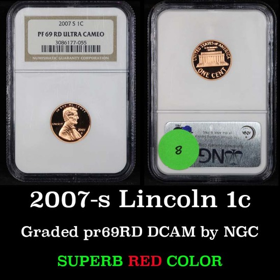 NGC 2007-s Lincoln Cent 1c Graded pr69RD DCAM by NGC