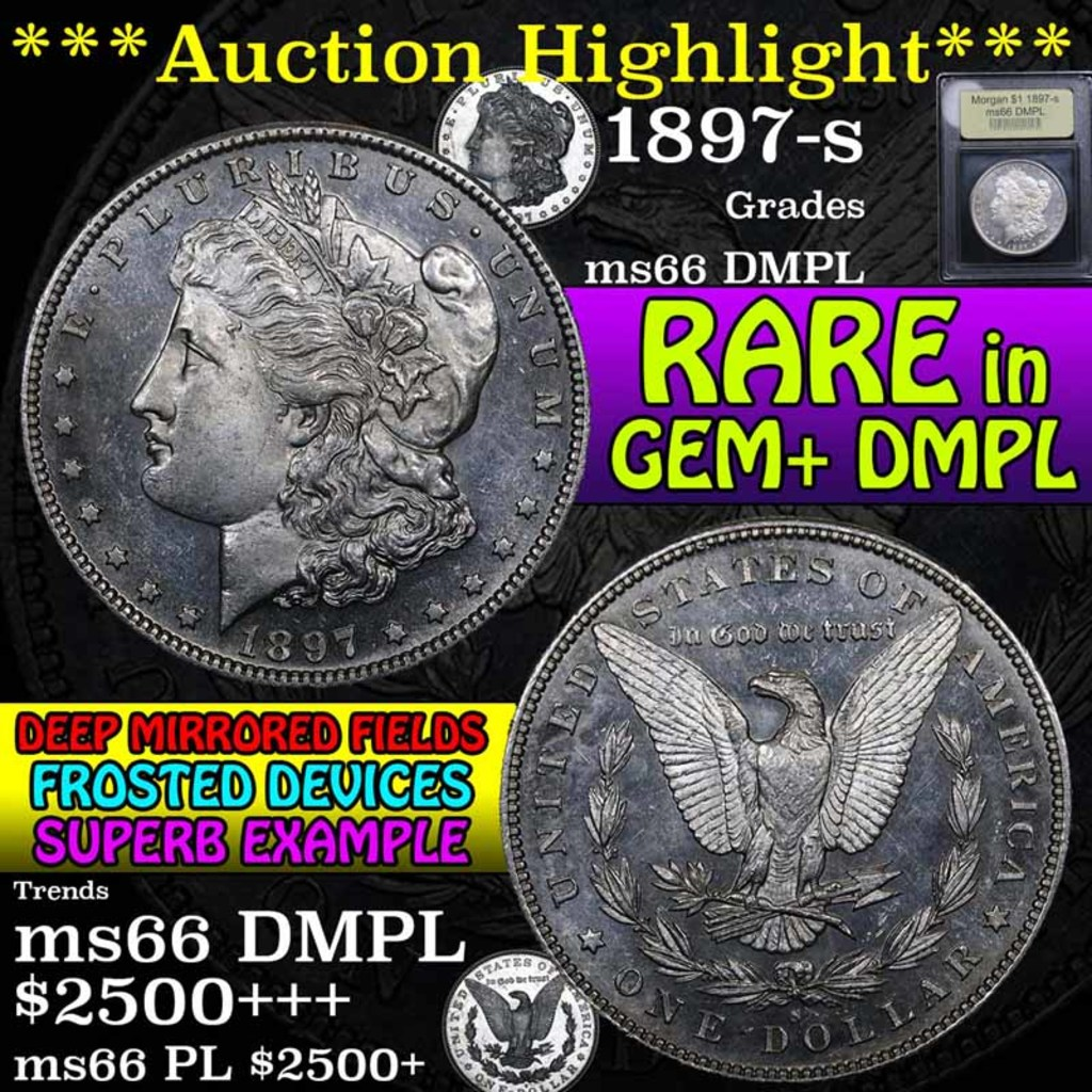 ***Auction Highlight*** 1897-s Morgan Dollar $1 Graded GEM+ UNC DMPL by USCG (fc)