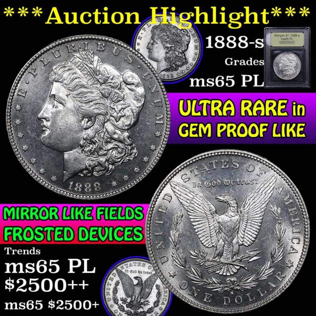 ***Auction Highlight*** 1888-s Morgan Dollar $1 Graded GEM Unc PL by USCG (fc)