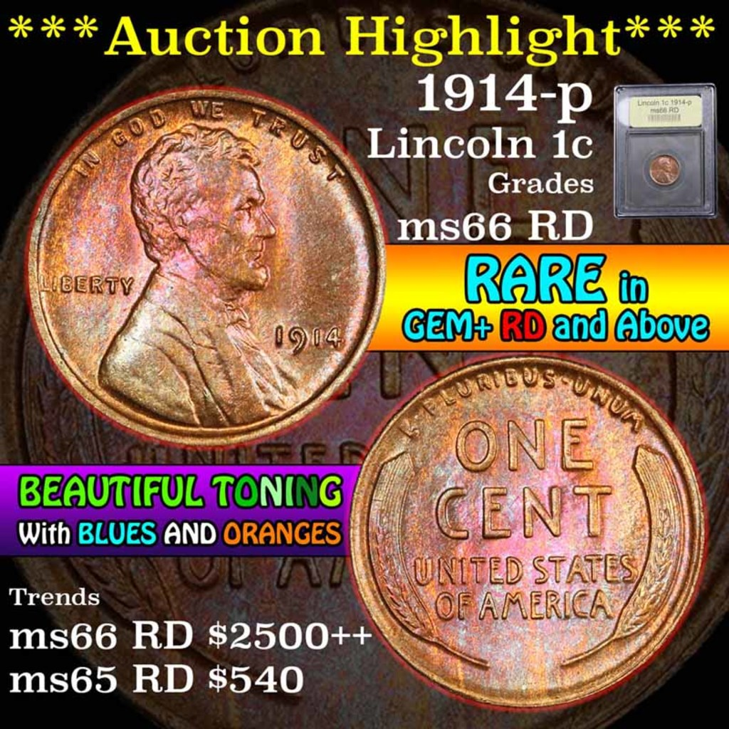 ***Auction Highlight*** 1914-p Beautiful Toning Lincoln Cent 1c Graded GEM+ Unc RD by USCG (fc)