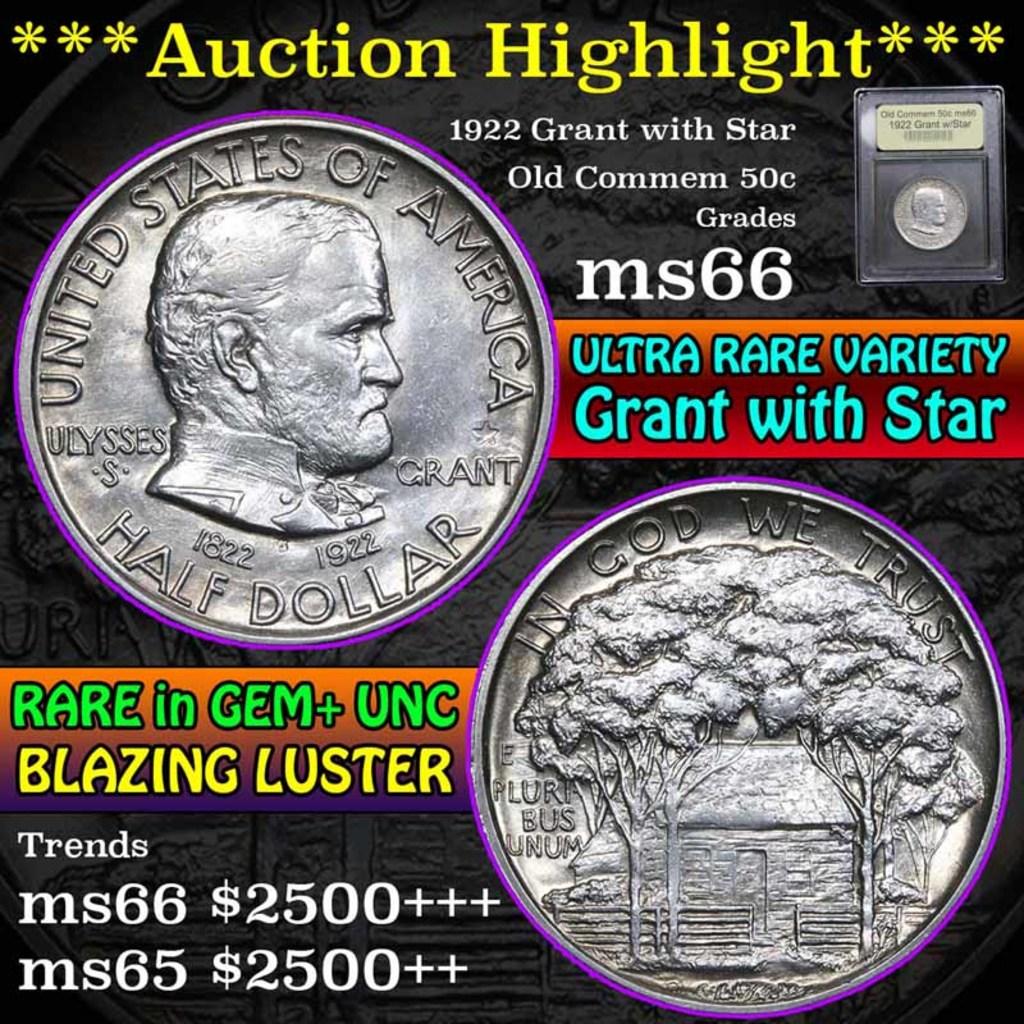 ***Auction Highlight*** 1922 Grant w/Star Old Commem Half Dollar 50c Graded GEM+ Unc by USCG (fc)