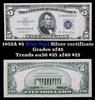 1953A $5 Blue Seal Silver certificate Grades xf+