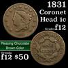 1831 Coronet Head Large Cent 1c Grades f, fine