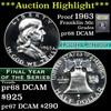 ***Auction Highlight*** Proof 1963 Franklin Half Dollar 50c Graded GEM++ Proof DCAM by USCG (fc)