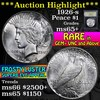 ***Auction Highlight*** 1926-s Peace Dollar $1 Graded GEM+ Unc by USCG (fc)
