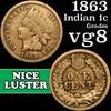 1863 Indian Cent 1c Grades vg, very good