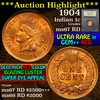 ***Auction Highlight*** 1904 Indian Cent 1c Graded GEM++ Unc RD by USCG (fc)