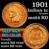 1901 Indian Cent 1c Grades Choice Unc RD (fc)