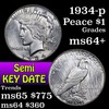1934-p Peace Dollar $1 Grades Choice+ Unc (fc)