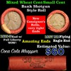 Lincoln Wheat cents 1c orig shotgun roll, 1919-d one end, 1858 Flying Eagle other end