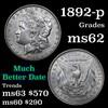 1892-p Morgan Dollar $1 Grades Select Unc (fc)