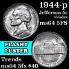 1944-p Jefferson Nickel 5c Grades Choice Unc 5fs