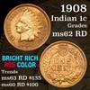 1908 Indian Cent 1c Grades Select Unc RD