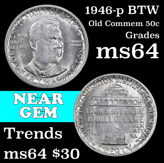 1946-p BTW Old Commem Half Dollar 50c Grades Choice Unc