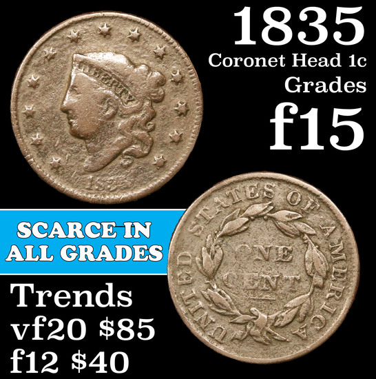 1835 Coronet Head Large Cent 1c Grades f+