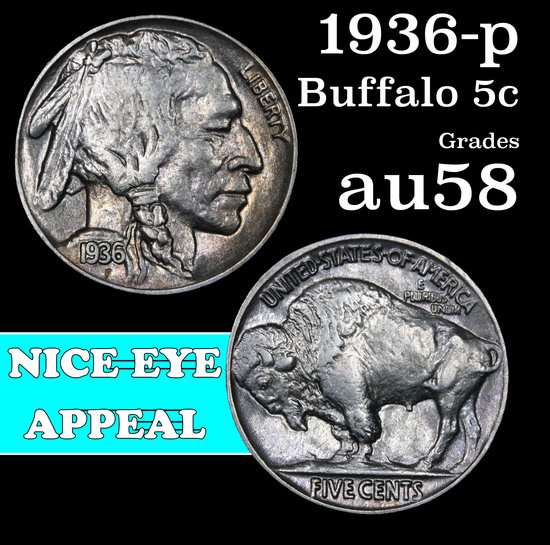 1936-p Buffalo Nickel 5c Grades Choice AU/BU Slider