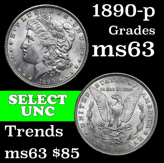1890-p Morgan Dollar $1 Grades Select Unc