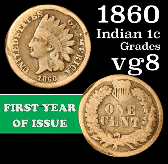 1860 Indian Cent 1c Grades vg, very good
