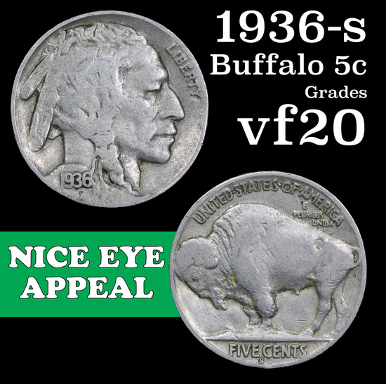 1936-s Buffalo Nickel 5c Grades vf, very fine